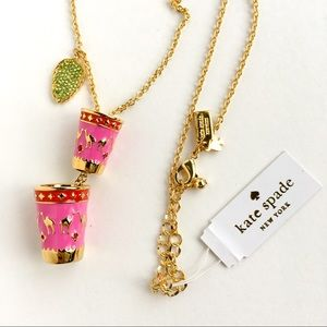 Kate spade double pink camel cup long necklace